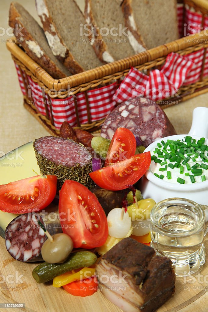 Brotzeit snack Plate with Shot royalty-free stock photo