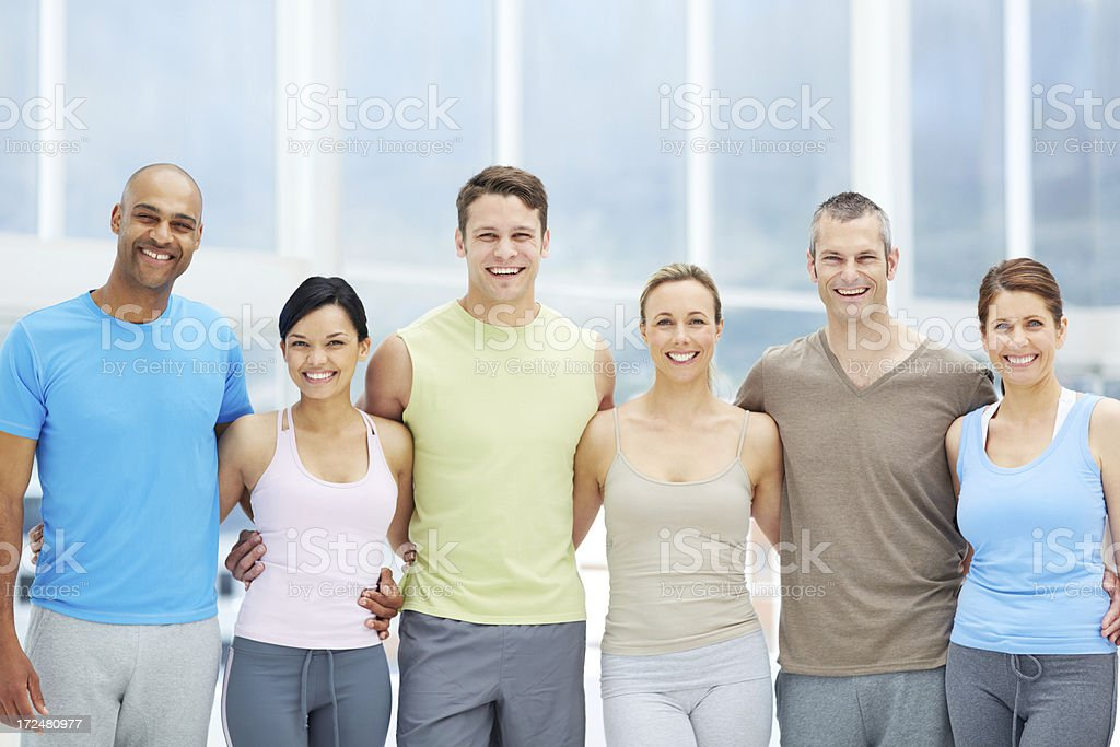 Brought together by a love of exercise! stock photo