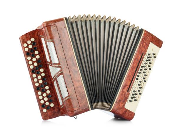brown accordion isolated on white background. file contains a path to isolation - historycyzm zdjęcia i obrazy z banku zdjęć