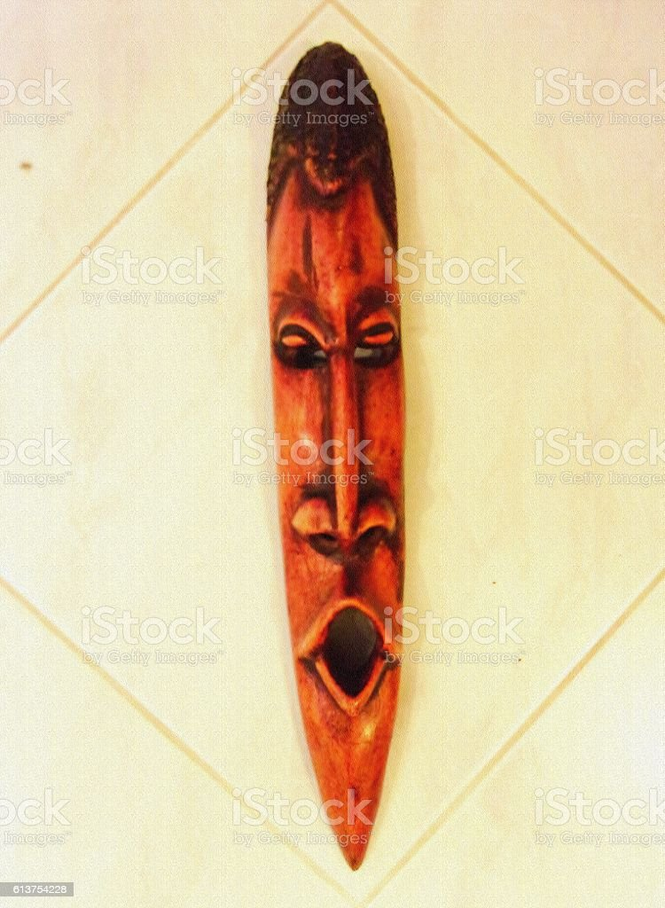 539- Brown African Ritual Mask stock photo