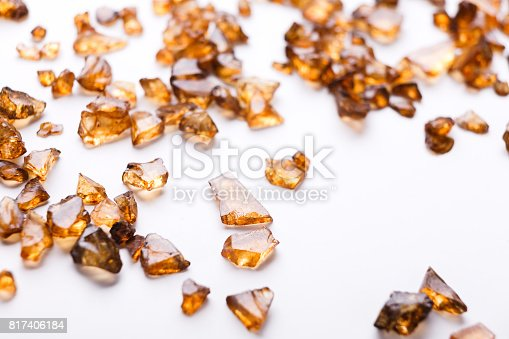 istock Brown Amber stones on white background 817406184
