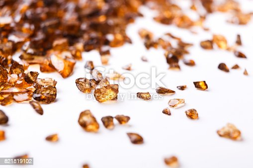istock Brown Amber stones on white background 821819102