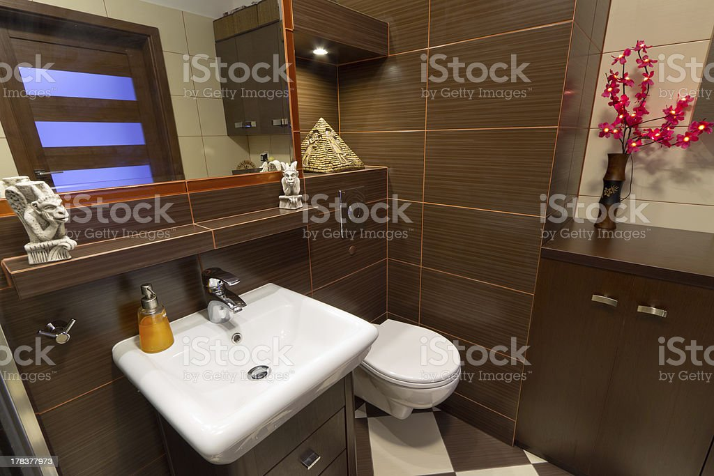 Brown and beige bathroom interior royalty-free stock photo