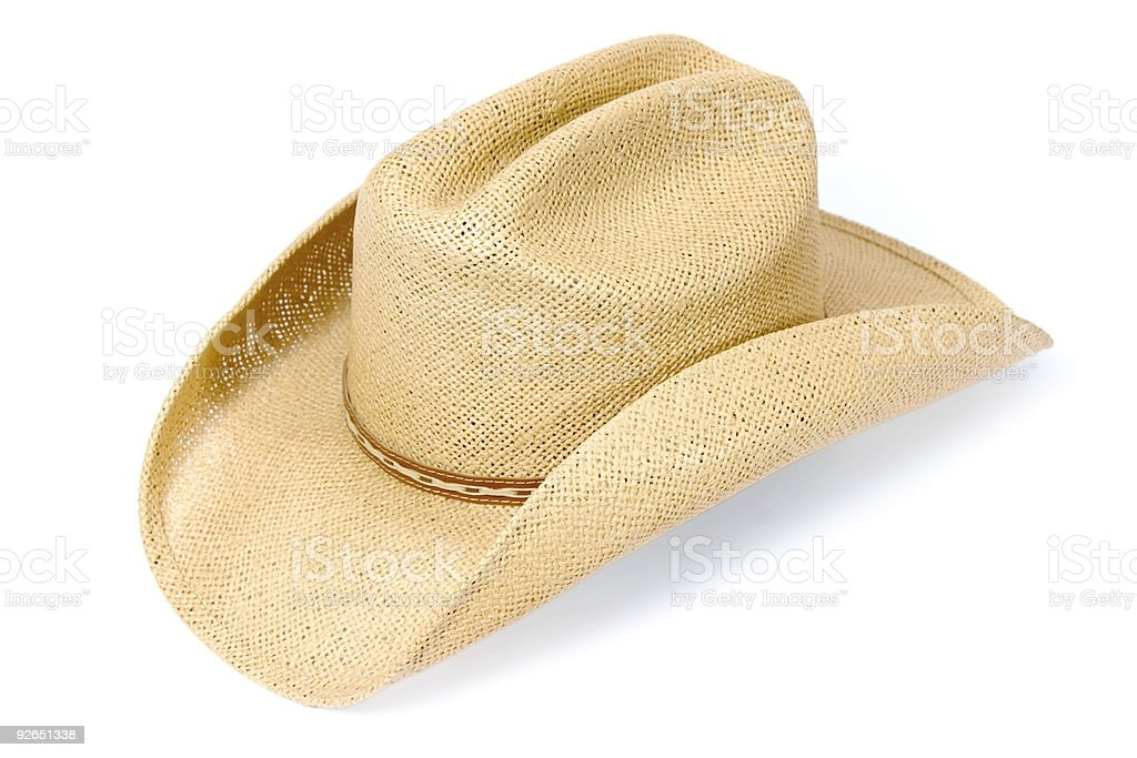 Brown and beige fibrous cowboy hat with white background stock photo