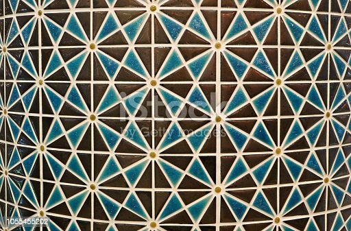 Brown and Blue Colored Geometric Arabian Traditional Pattern Mosaic Tiled Curve Column