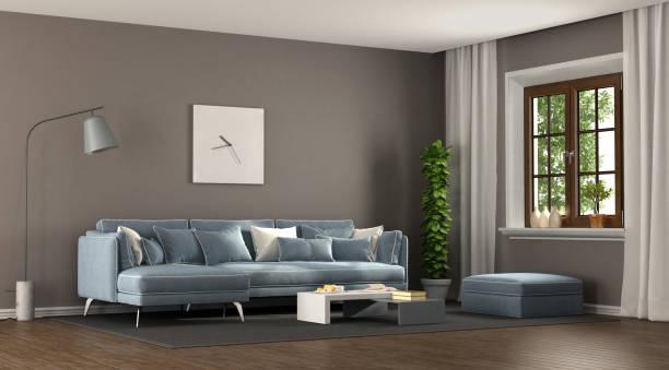 braun und blau elegantes wohnzimmer - hellblaues zimmer stock-fotos und bilder