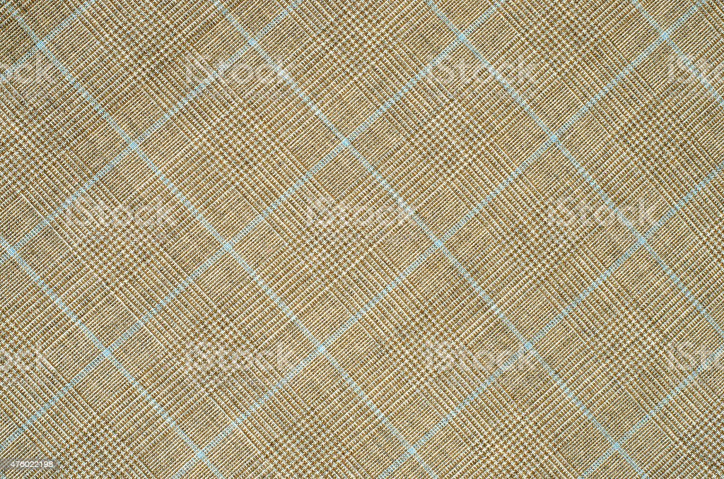 Brown and blue guncheck pattern on fabric. stock photo