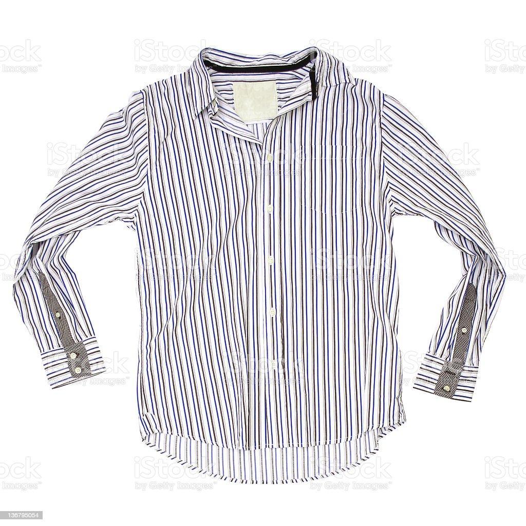 1c94a96868e8a9 Camicia a righe marrone e blu-sfondo bianco foto stock royalty-free