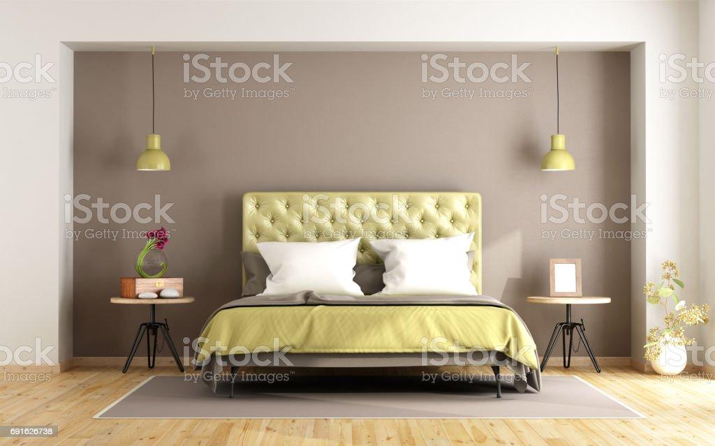 Uberlegen Braun Und Grün Schlafzimmer Lizenzfreies Stock Foto