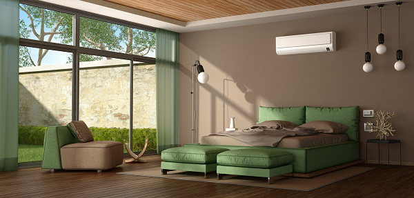 Brown And Green Modern Master Bedroom Stock Photo