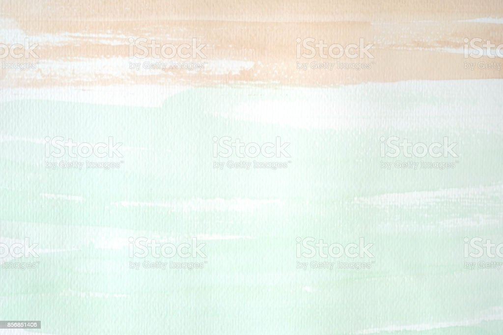 Brown and green watercolor texture on white paper background stock photo