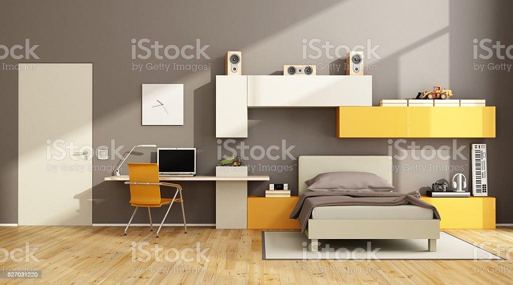Marron Et Orange Adolescent Chambre à Coucher Photo Libre De Droits