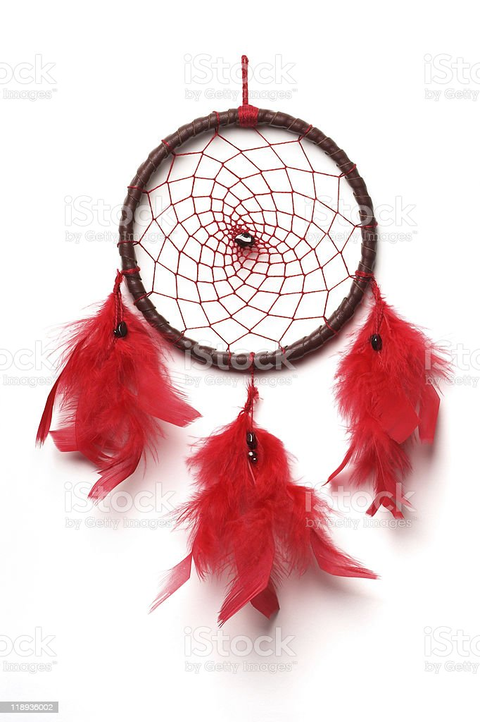 Brown and red dream catcher with red feathers stock photo