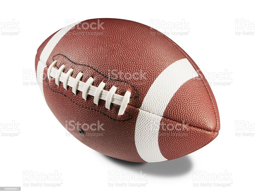 Brown and white American football on white background stock photo