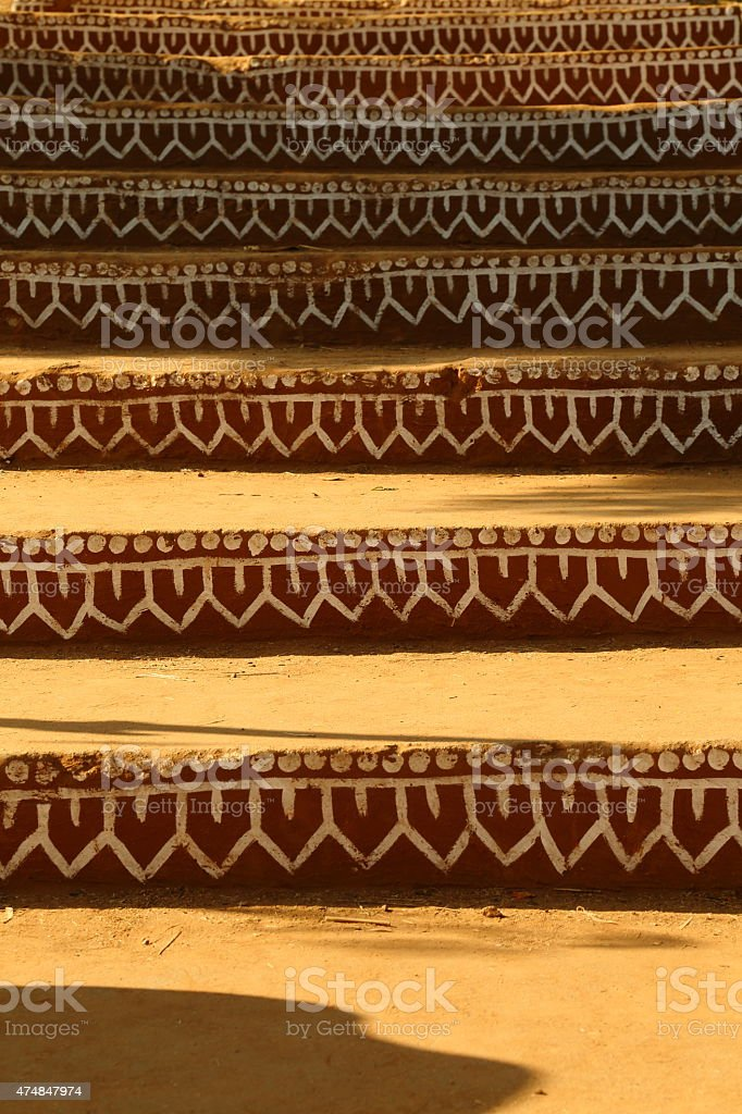 Brown and white exterior wall of a Rajasthani house stock photo