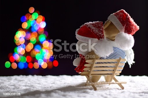 istock Brown and white teddy bear wearing santa hat sitting on wooden bench with snow in winter looking at colorful bokeh lights of Christmas tree. 1069058128