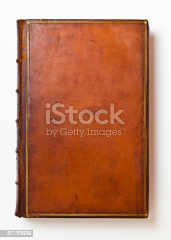 Rich brown leather book cover that's over 200 years old. Only centuries of age can produce such a rich patina and lovely wear.