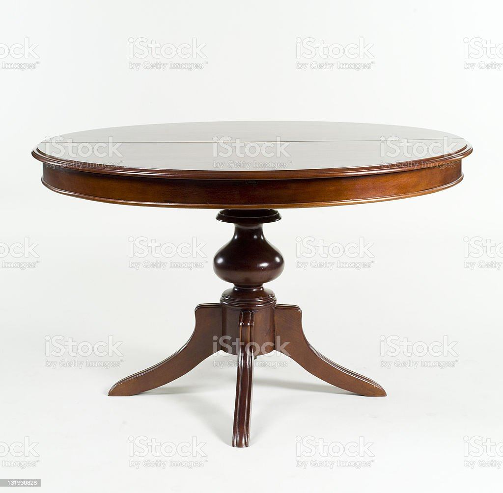 Brown antique table with round table top  royalty-free stock photo