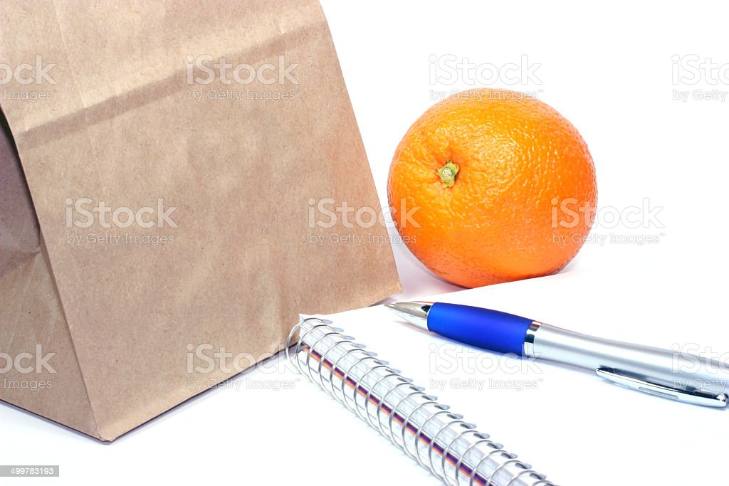 Brown bag lunch meeting stock photo