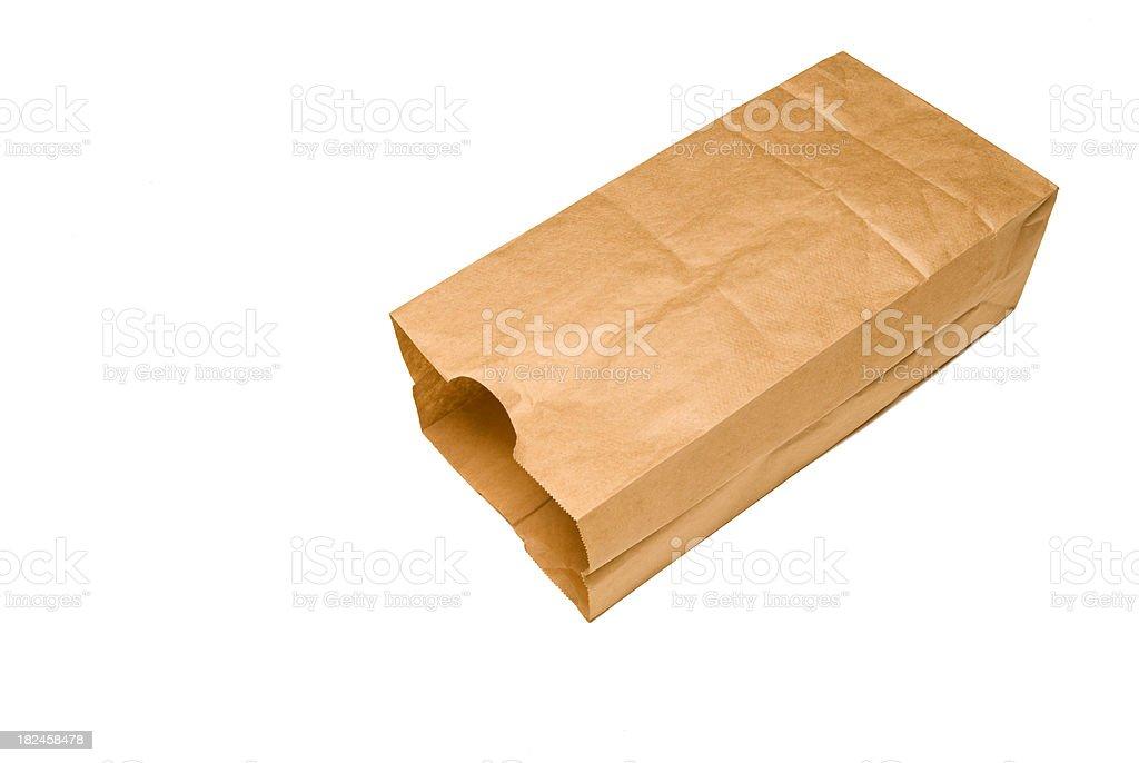 Brown Bag on Side stock photo