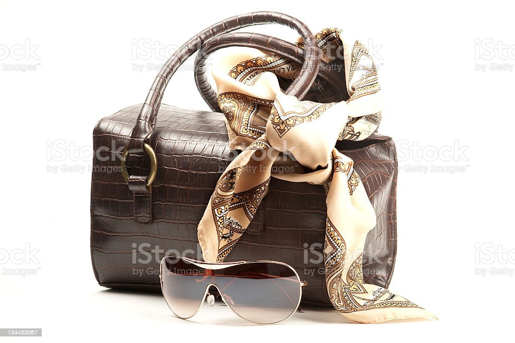 Brown bag, spectacles and scarf stock photo