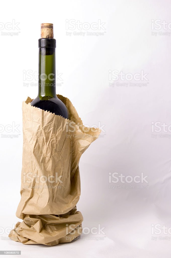 Brown Bagged Bottle Full stok fotoğrafı