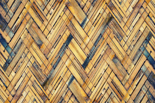 Brown bamboo weaving texture  pattern background stock photo