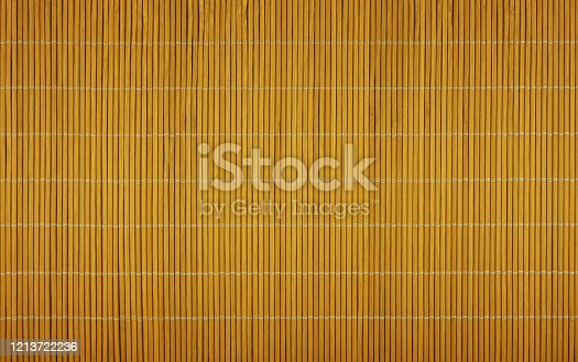 Close up natural brown bamboo wood mat background texture, directly above
