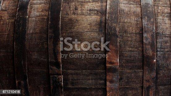 istock Brown barrel texture 671210416