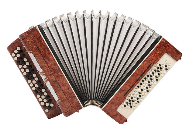 brown bayan (accordion) isolated on white background - accordion stock photos and pictures