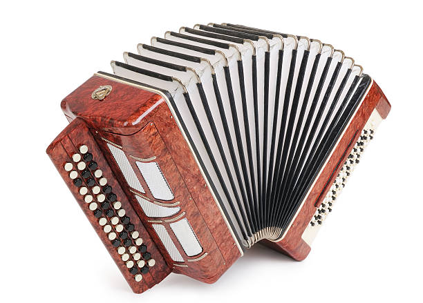 brown bayan (accordion) on white background - accordion stock photos and pictures