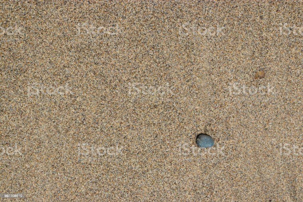 Brown beach sand, single pebble. stock photo