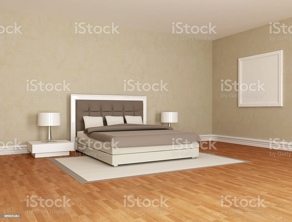 Brown bedroom with stylish bed royalty-free stock photo