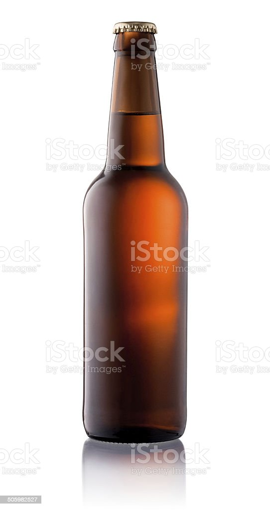 Brown beer bottle isolated on white background stock photo