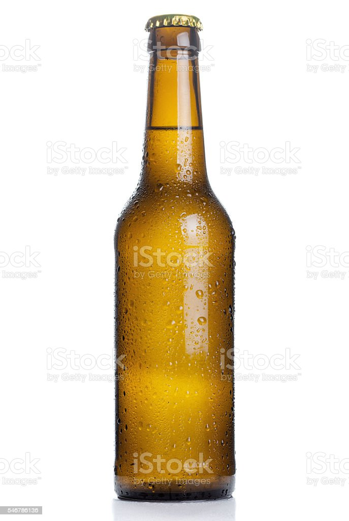 brown beer bottle with drops isolated on white background stock photo