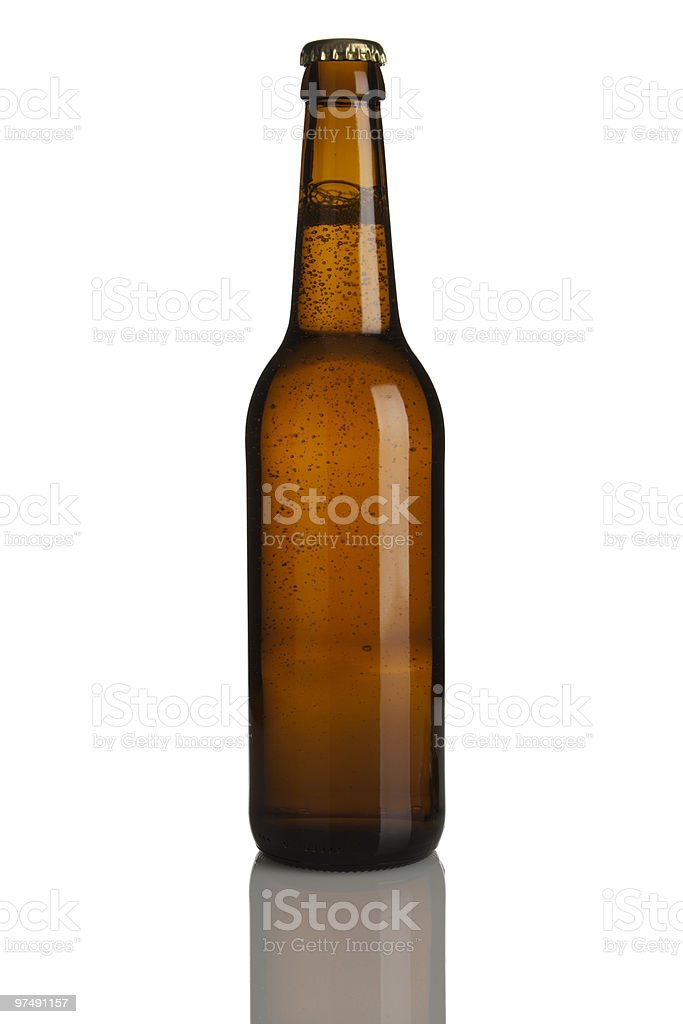 brown beer bottle without label royalty-free stock photo