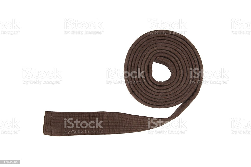Brown belt isolated stock photo