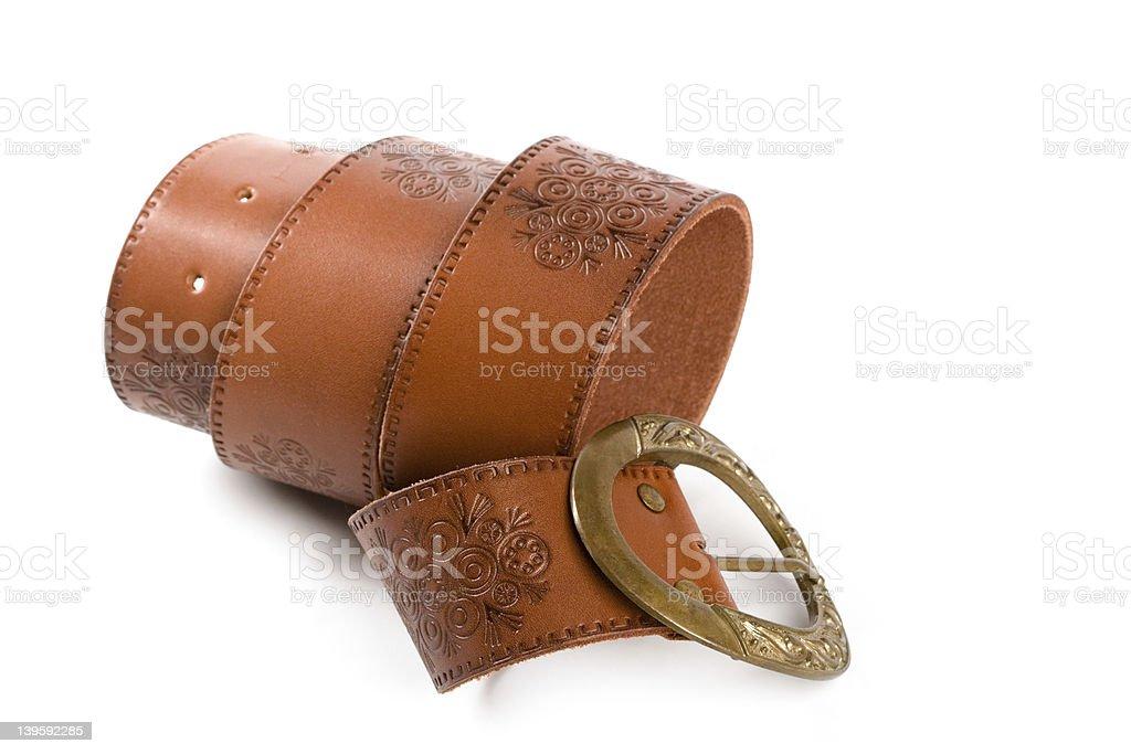 brown belt with bronze buckle stock photo