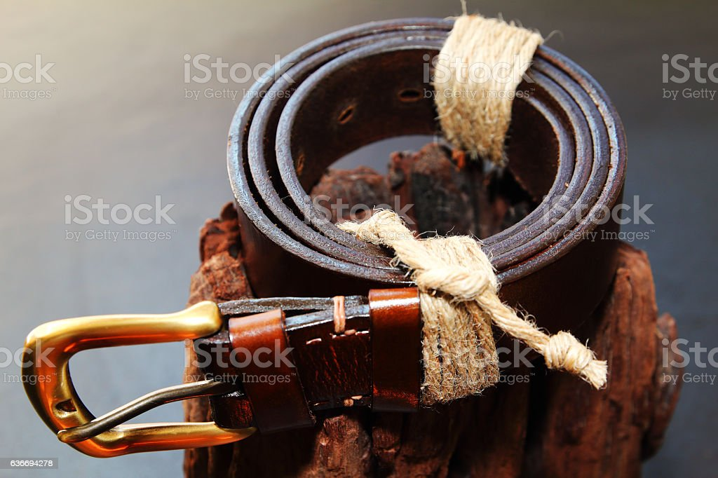 Brown belt with metal buckle stock photo