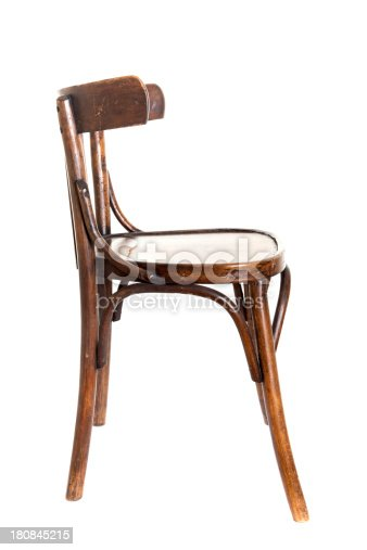 old bent-wood chair isolated on white background
