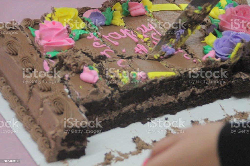 Brown Birthday Cake stock photo