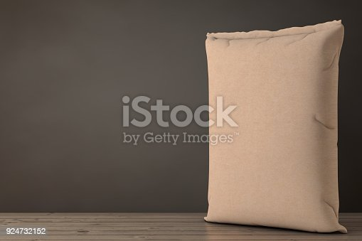 912671588istockphoto Brown Blank Paper Sack Cement Bag. 3d Rendering 924732152