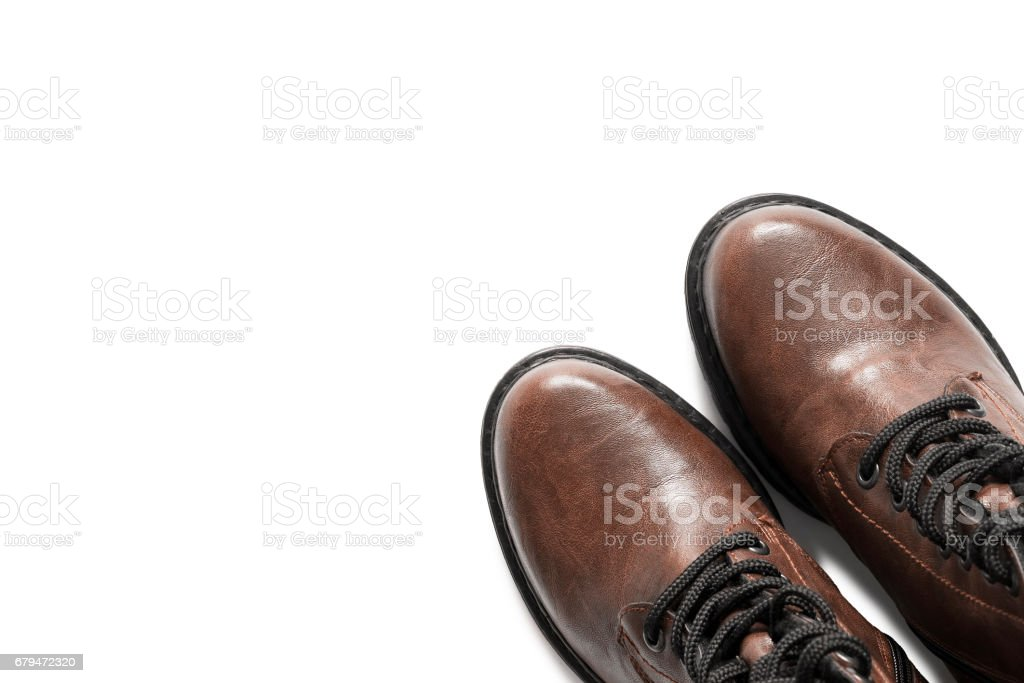 Brown boots isolated royalty-free stock photo