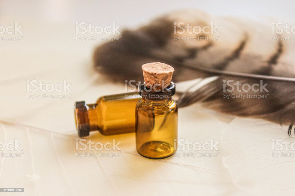 Brown bottle for potions and medicines stock photo