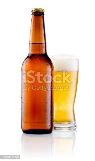 istock Brown bottle with drops and Glass of beer isolated 166375996