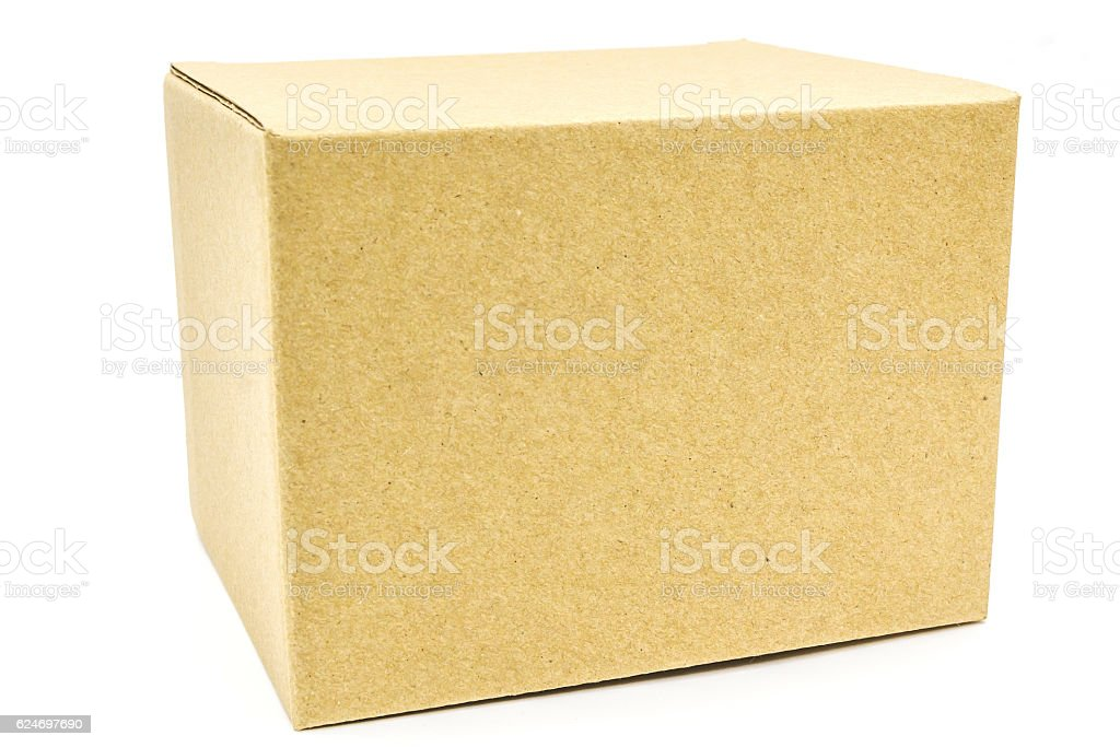 Brown box isolated on white background. stock photo