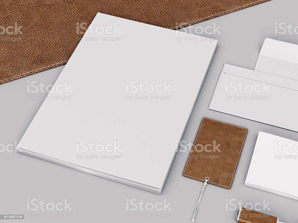Brown branding mockup. Template set on black background.. stock photo