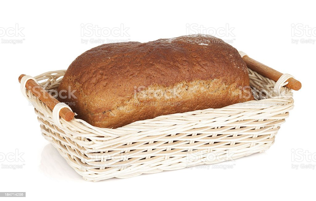 Brown bread in basket royalty-free stock photo