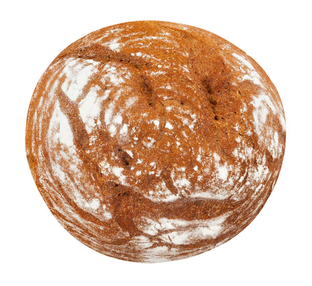 brown bread bread isolated top view round loaf stock pictures, royalty-free photos & images