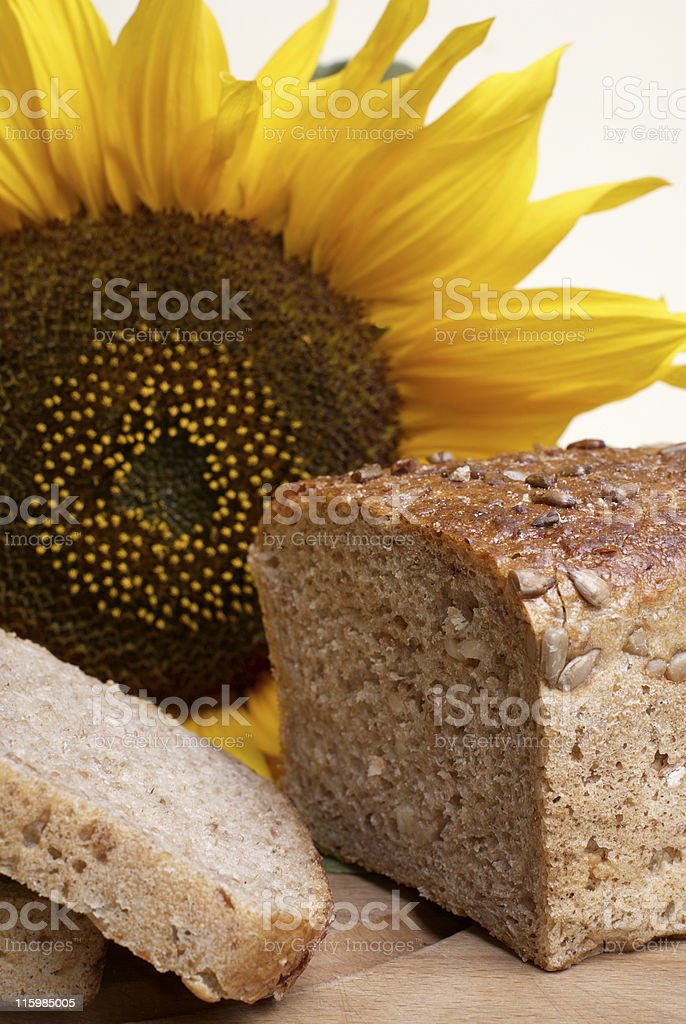 Brown bread with sunflower royalty-free stock photo